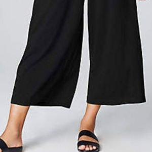 J. JILL Black Wide Leg Cropped Rayon Pants sz S